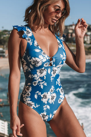 Floral Print Ruffle Shoulder One Piece Swimwear
