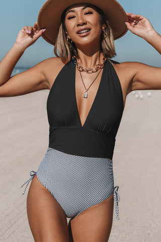 Drawstring Side Halter Neck Retro One Piece Swimsuit