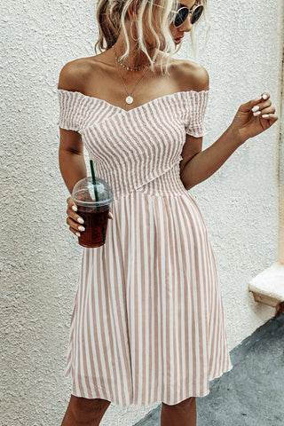 Smocked Chest Short Sleeve Stripe Dress