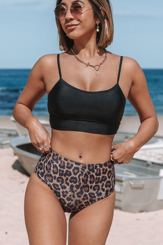 Leopard Print Strappy Back Bikini Set