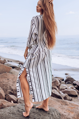 V Neck Long Sleeve Stripe Print Cover Up