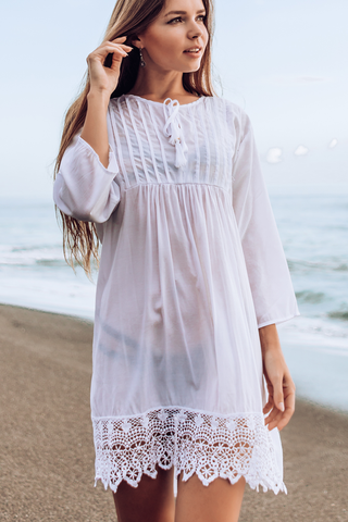Lace Panel Tassel Trim White Cover Up