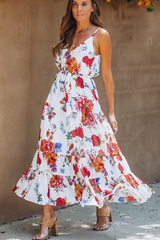 Flower Print High Waist Frill Hem Maxi Dress