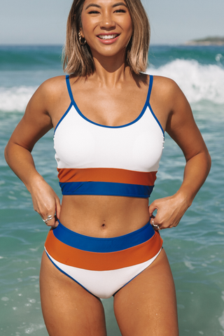 Stripe Print Contrast Binding High Waist Bikini Set