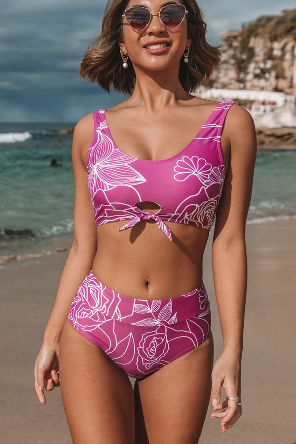 Flower Print Tie Front High Waist Bikini Set