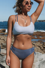 Stripe Print Criss Cross Back Bikini Set