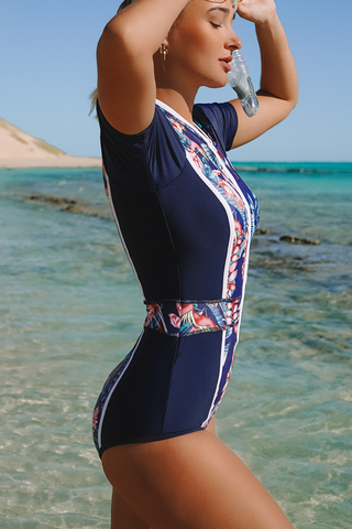 Leaf Print Zipper Up One Piece Surfing Swimwear
