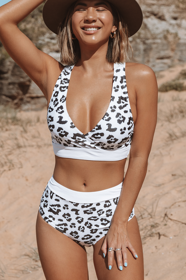 Leopard Print Criss Cross Back Bikini Set