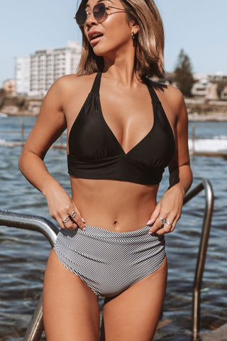 Halter Neck Stripe Print Ruched Bikini Set