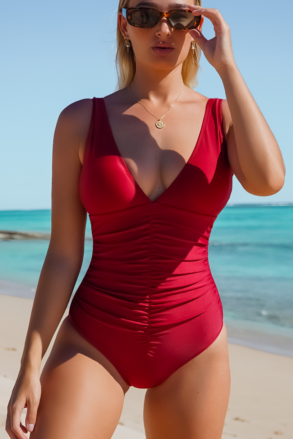 V Neck Ruched Design Burgundy One Piece Swimsuits