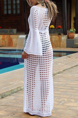 Flare Sleeve Knitted White Cover Up