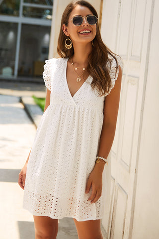 V Neck Solid Color Lace Panel Mini Dress