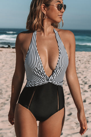 Stripe Print Twsit Front One Piece Swimsuit
