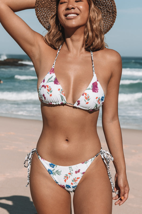 Leopard and Floral Print Reversible Bikini Set