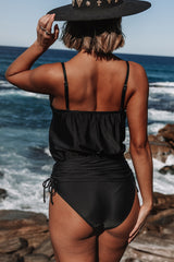 Drawstring Side Tummy Control One Piece Swimwear
