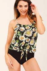 Sunflower Print Knot Front Tankini Set