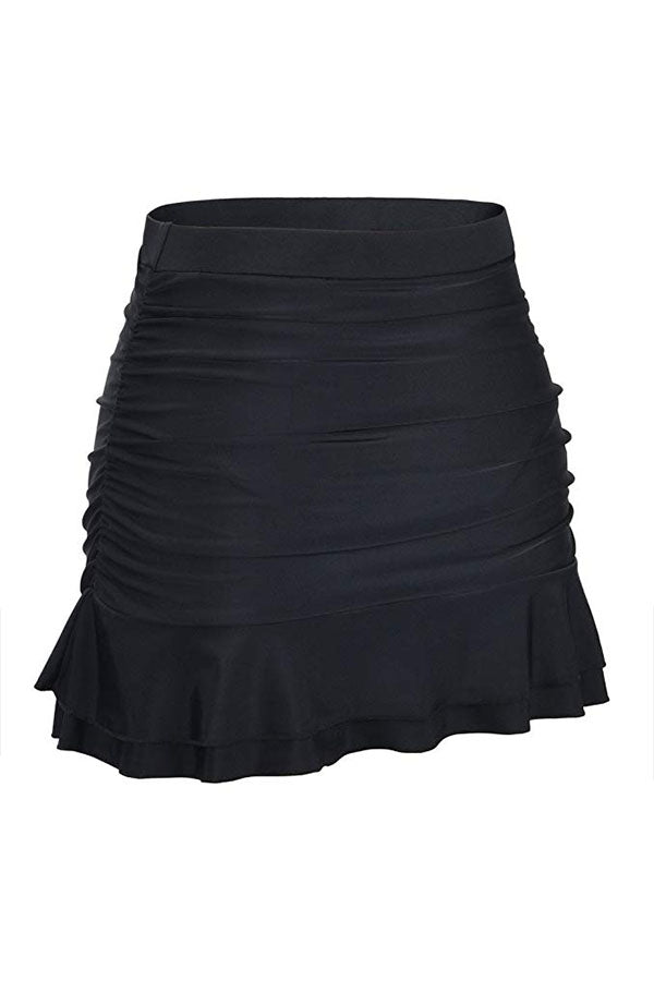 High Waist Ruched Design Swim Skirt