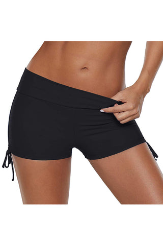 Drawstring Side Solid Color Black Swim Shorts
