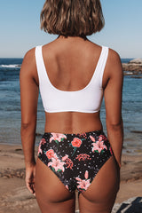 Front Twist Floral Print Two Pieces Swimsuit