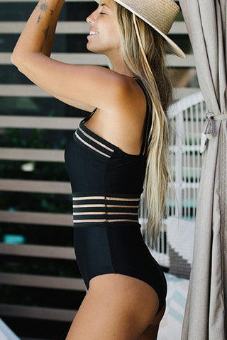 Stripe Patchwork Cross Front One Piece Swimwear