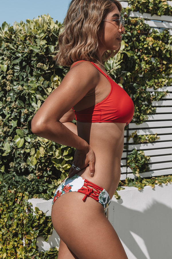Red and Flower Print Reversible Bottom Bikini Set