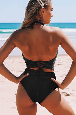 Solid Cutout Front Drastring Back One Piece Swimwear