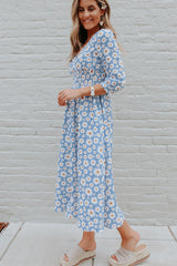 Sunflower Print Smocked Waist Long Sleeve Casual Dress