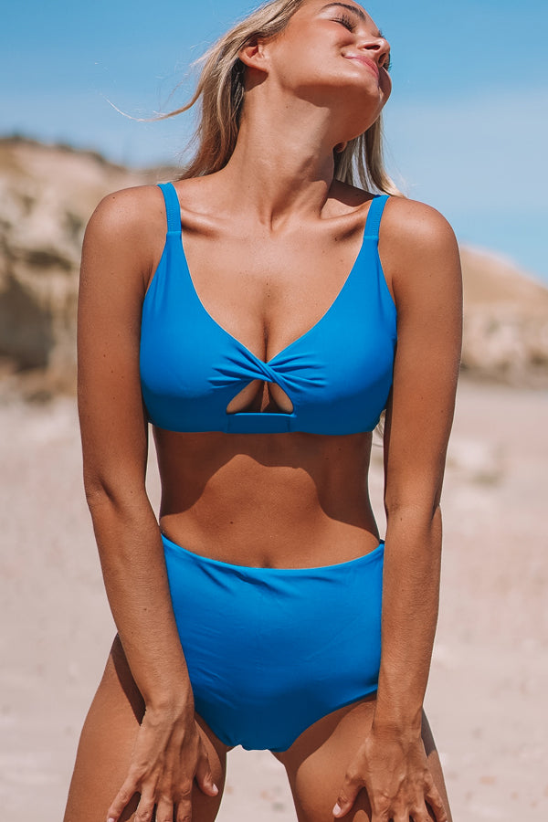 Solid Color Twist Front High Waisted Bikini Set