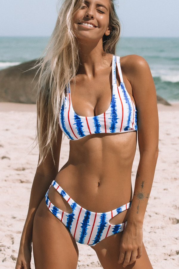 Stripes Print Low Waist Bikini Set