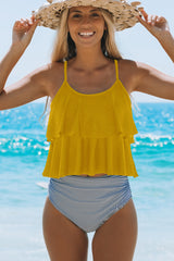 Yellow and Stripe Print Cute Tankini Set