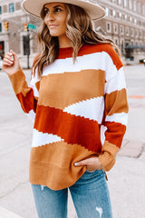 Color Block Asymmetric Hem Sweater