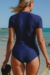 Short Sleeve Zipper Up Navy Blue Surfing Swimwear