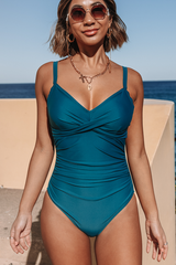 Twist Front Ruched Design One Piece Swimsuits