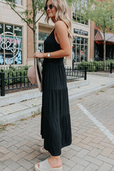 Elastic Waist Frill Hem Black Cami Maxi Dress