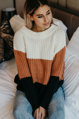 Color Block Knitted Long Sleeve Sweater