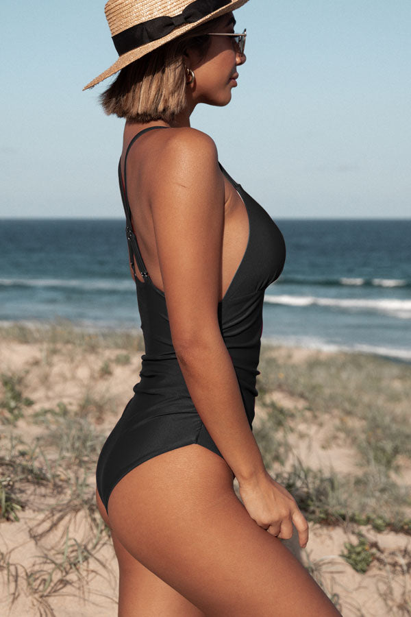 Solid Color V Neck Ruched One Piece Swimsuit