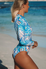 Leaf Print Zipper Up Blue Surfing Swimwear