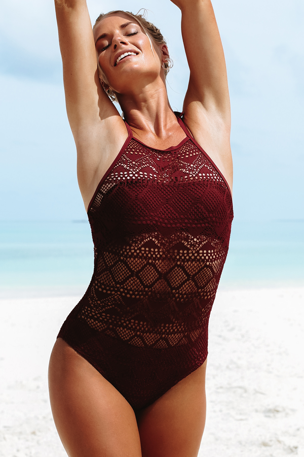 Solid Haltered Cute One Piece Swimsuit