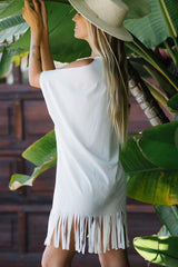 V NECK Tassel Hem Swimwear Cover Up