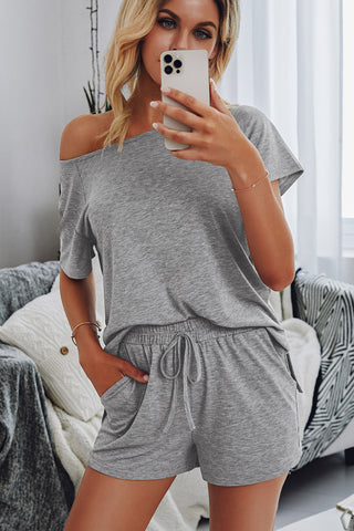 Grey Skew Neck Drawstring Waist Rompers