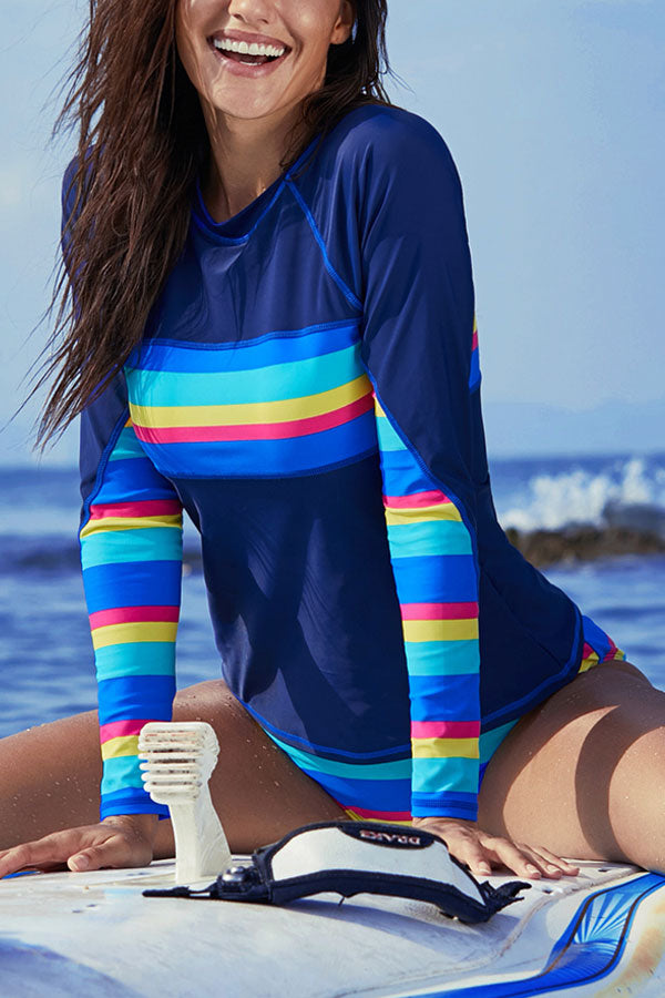 Rainbow Stripe Round Neck Long Sleeve Surfing Swimsuit