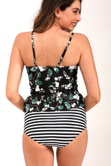 Leaf &Stripe Print Tankini Set