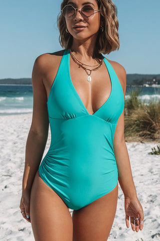 Halter Neck Ruched Design One Piece Swimwear