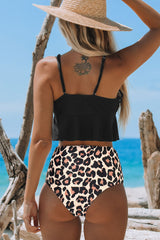 Leopard Print High Waist Flouncing Bikini Set