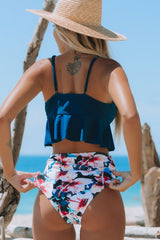 Flower Print High Waist Flouncing Bikini Set