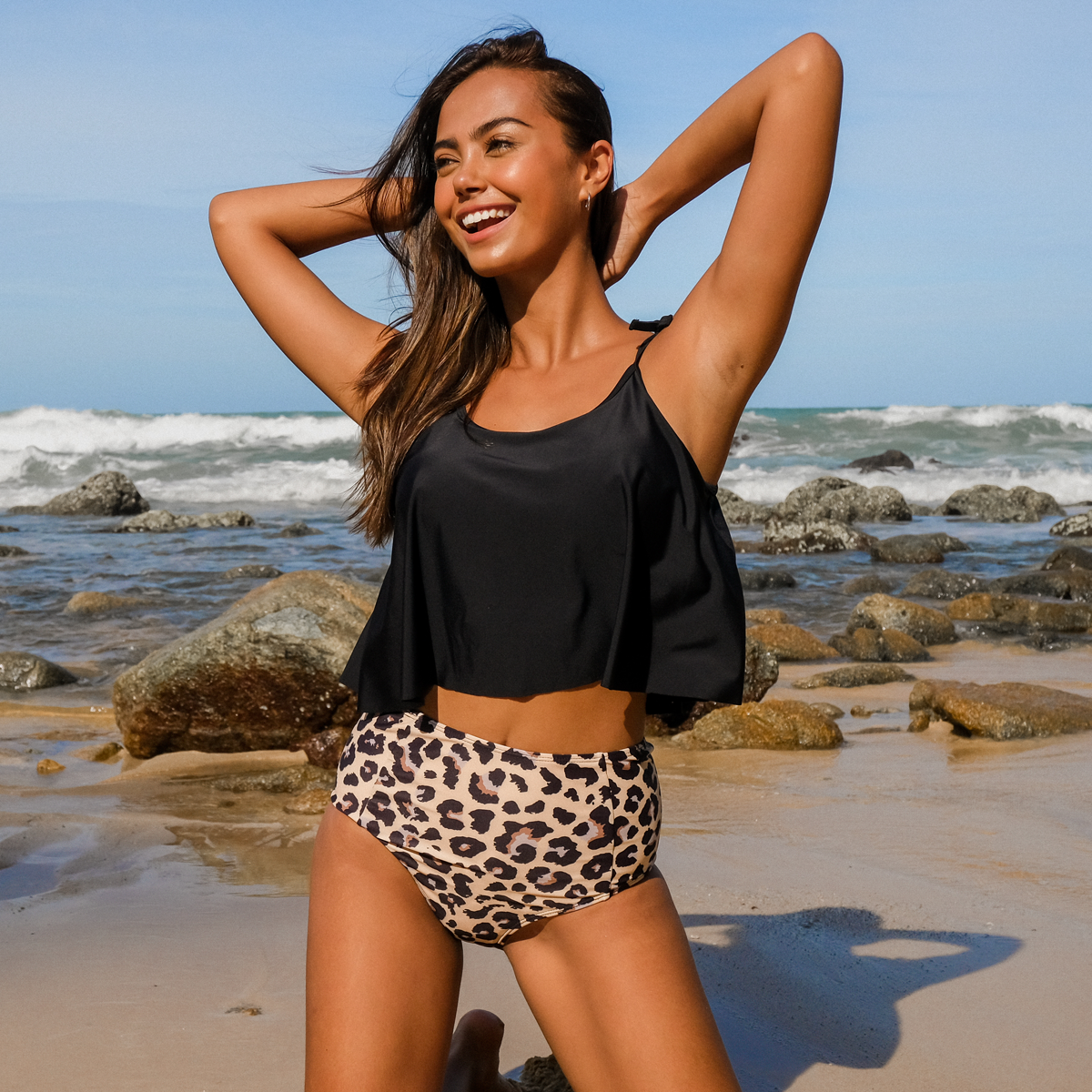 Tie Shoulder High Waist Leopard Print Bikini Set