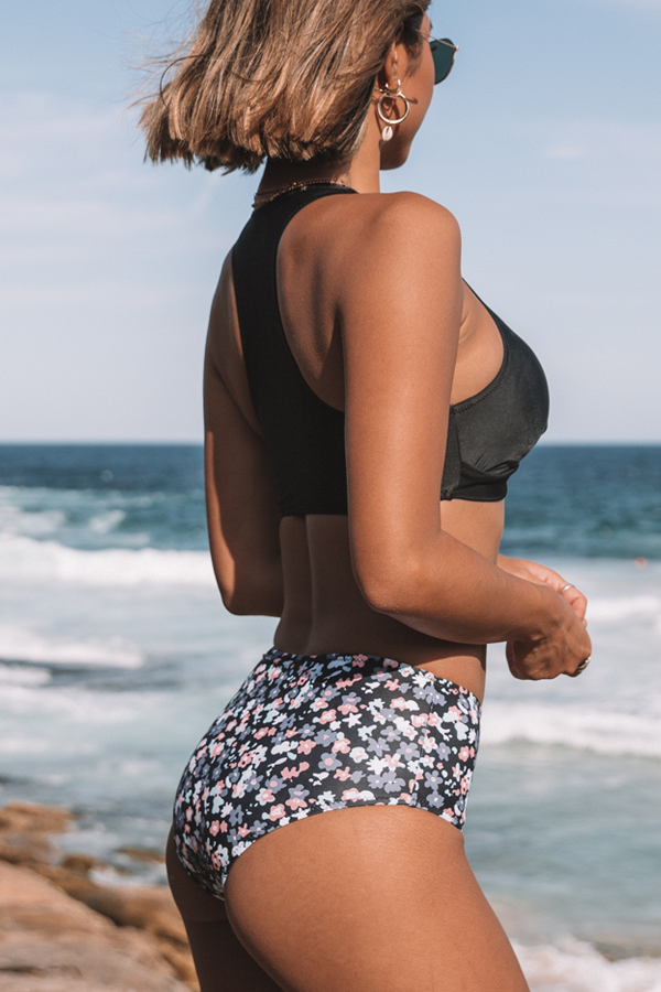 Twist Front High Waist Printed Bikini Set