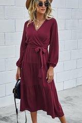 Solid Color V Neck Tie Waist Dress