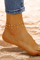 Circular Water Droplets Alloy Anklets