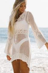 Hollow Flared sleeves Swimwear Cover Up